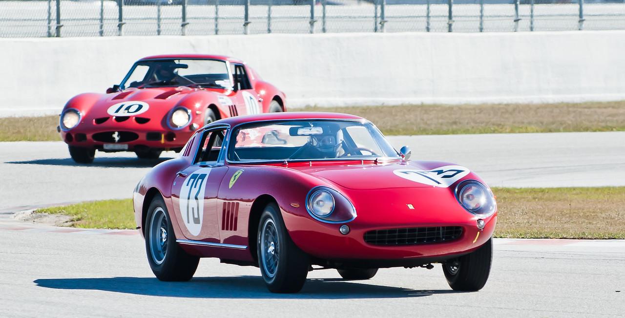 Charles Wegner in 1966 Ferrari GTB/C leads Jon Shirley in 1962 GTO