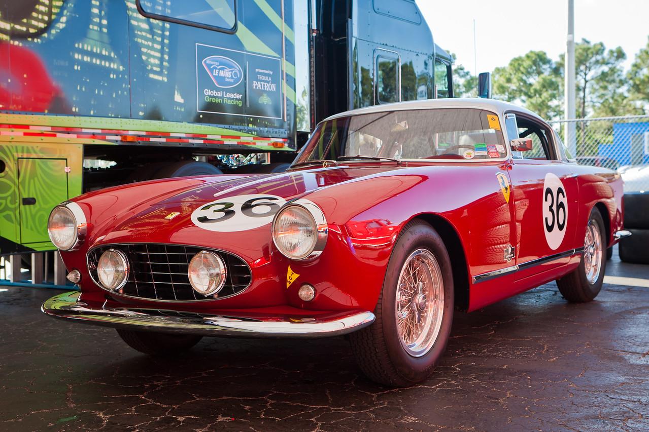 1956 Ferrari 250 GT Boano Coupe in paddock at PBIR
