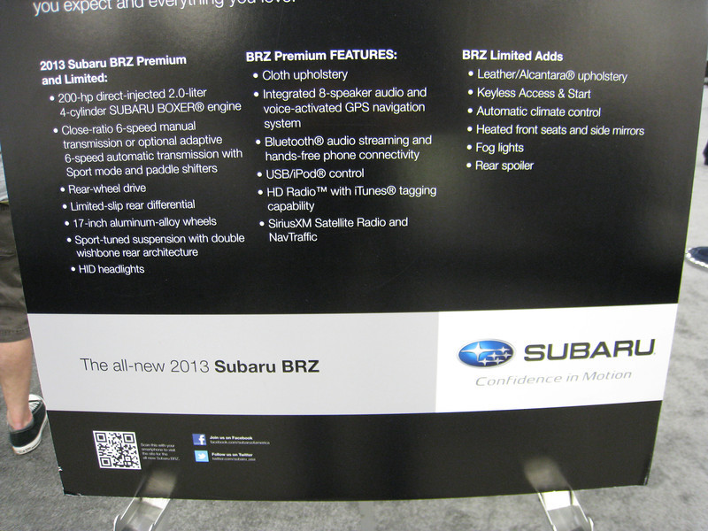 2013 Subaru BRZ model features