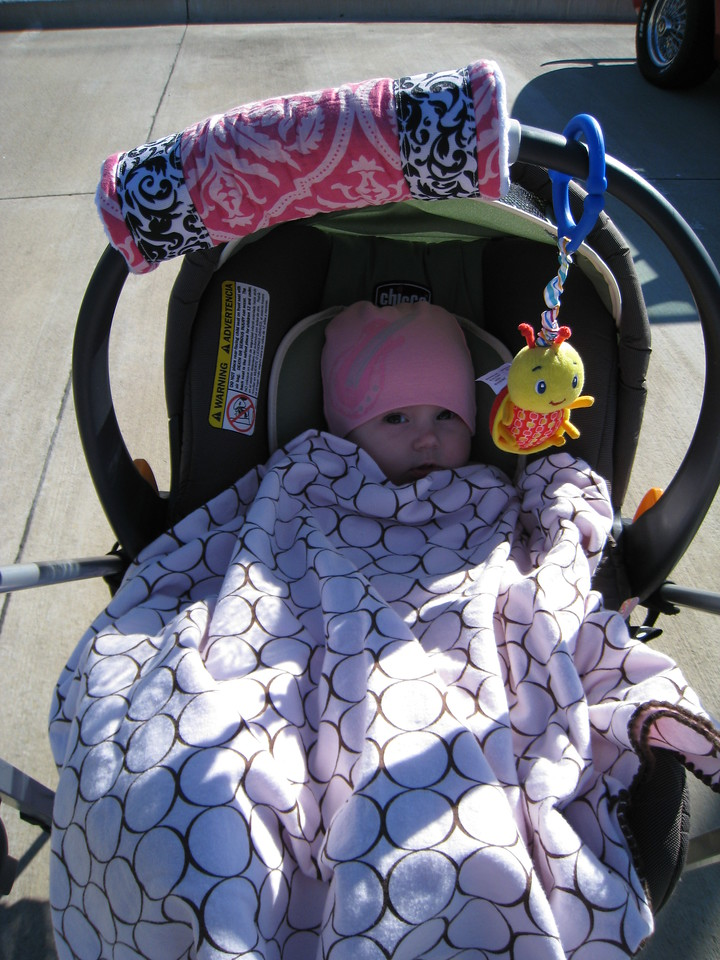 Laney all bundled up to stay warm at Cars & Coffee