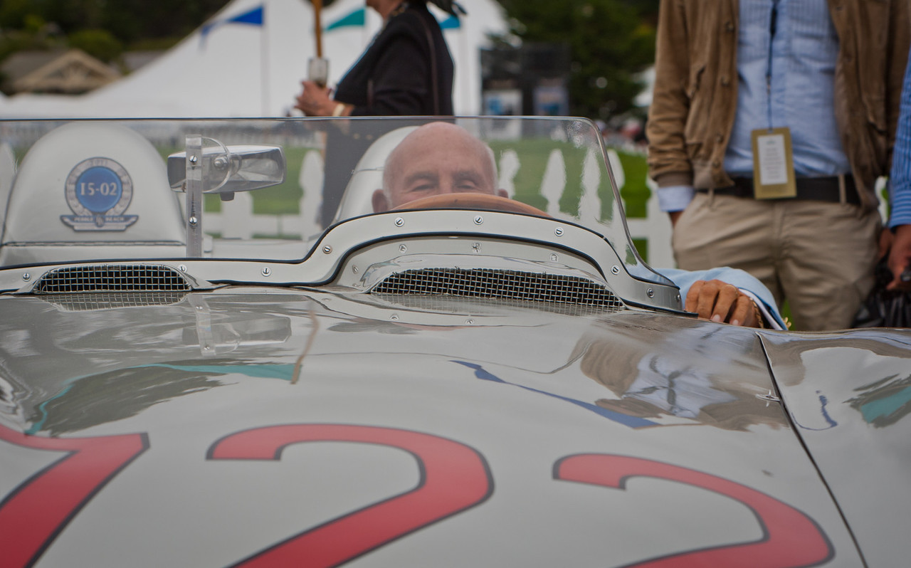 Sir Stirling Moss at the wheel of Mercedes 300 SLR #722