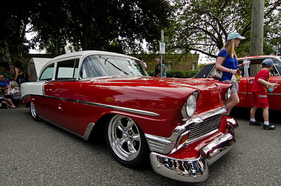 Incredible paint job on this 1956 Chevy. And there might be a little bit of chrome on it as well.