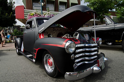 1953 Chevy. Matte black with red spider trim. Kinda neat.
