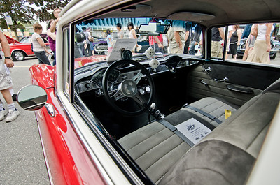 The fancy schmancy interior of the 1956 Chevy