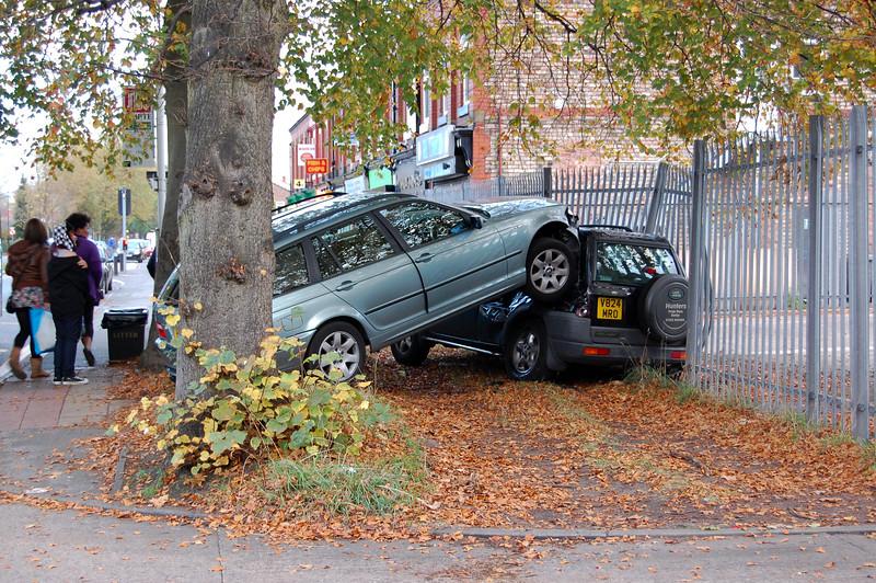 Car crash moorside Road, Urmston. Friday 23 October 2009