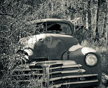 Old car in the Black Hills of South Dakota