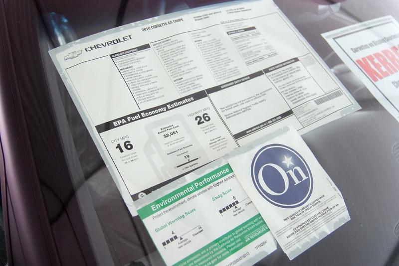 2010 Corvette Grand Sport window sticker. $57,210.00