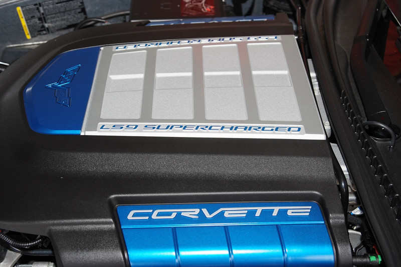 2009 Corvette ZR1 LS9 630 hp engine. Supercharger is built into intake.
