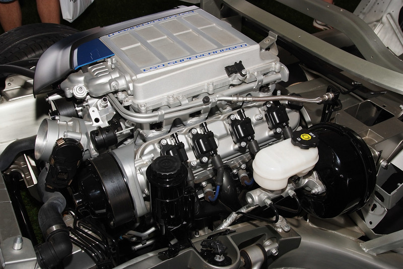2009 Corvette ZR1 Cutaway engine on rolling chassis. LS9 supercharger.