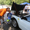 "Cars & Cans Car Show, organized by 16-year-old Alex ""Slimey"" Lambert of Dracut, to collect food and raise money for the Dracut Food Pantry. Alan Jemlich and his son Zack Jemlich, 4, of New Ipswich, N.H., look under the hood of a 1984 Ferrari belonging to Gloria Sesin De Contreras of Windham, N.H., which has its engine in the back. (SUN/Julia Malakie)"