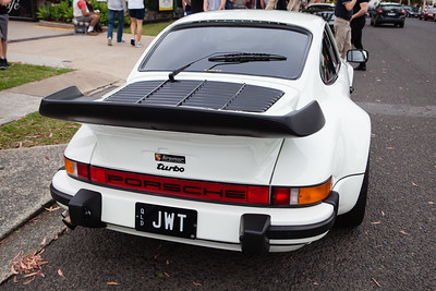 White Porsche Turbo Whale Tail