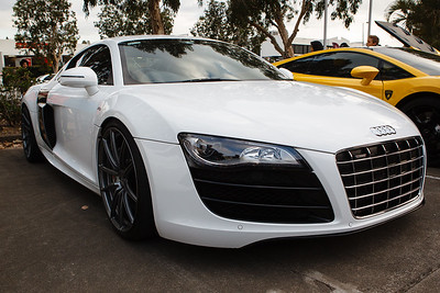 White Audi R8 - Cars & Coffee, Brisbane. Saturday 2 September 2017. Photos by Des Thureson - http://disci.smugmug.com