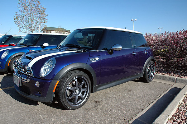 Purple haze (black-eye purple) with the summer wheels and tires. The arrows for the tire direction were