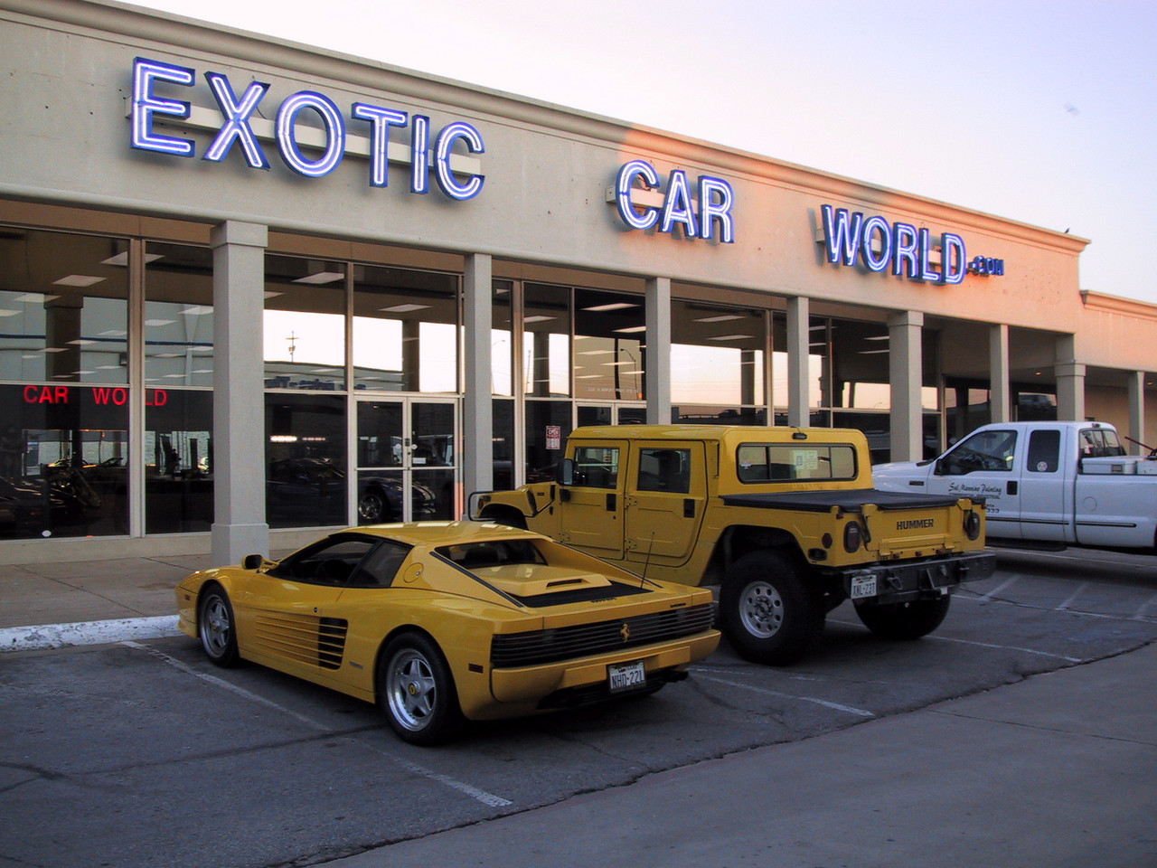 Exotic Car World and the last shot of the yellow twins together. :)