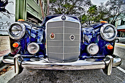 Wednesday, Feb. 8, 2012. Old Mercedes parked downtown West Palm Beach. HDRtist Pro Rendering.