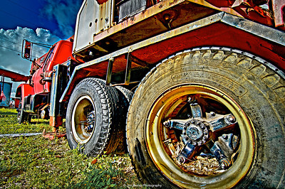 Old abandoned red truck.