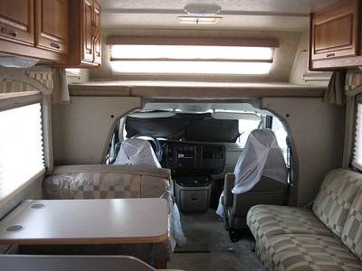 The interior of a motorhome.