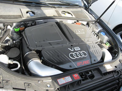 Under the bonnet, bi-turbo V8.