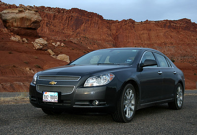 Capitol Reef National Park, Utah, USA, November 2009 Chevrolet Malibu, my Hertz rental car, which took me from Dallas, Texas to L.A. California, covering 6025 miles.