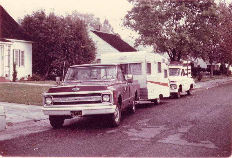 1969 Chevy half ton with borrowed trailer for Idaho elk hunt