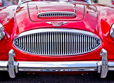 Restored red 3000 MK ll Austin - Healey.