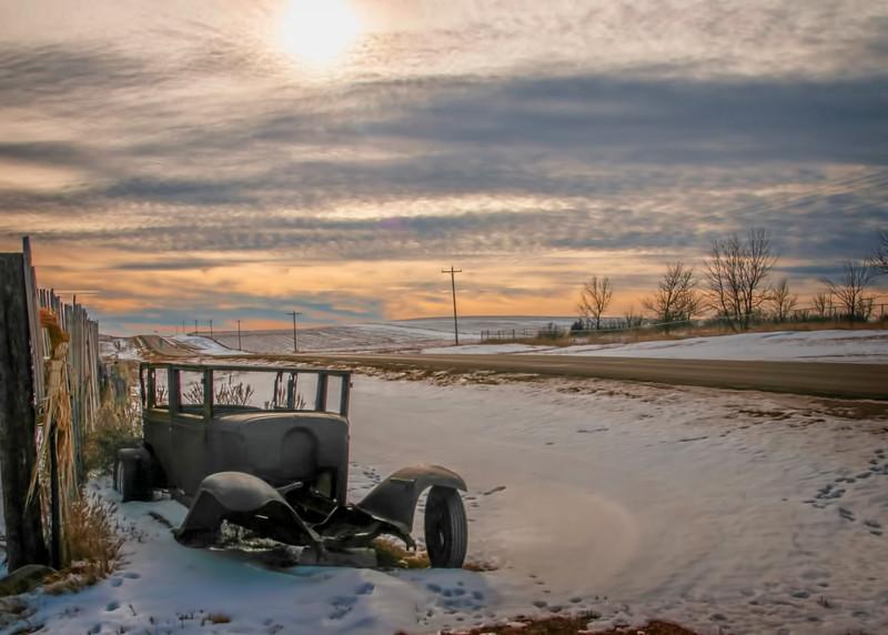 Vintage car in ditch
