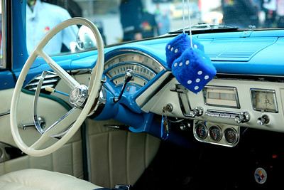Classic steering wheel and hanging dice at Mooneyes Xmas Party 2008