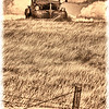 An antiqued processing and border of this vintage Dodge pickup on a hill near Bear Butte outside of Sturgis, South Dakota.  I drove or rode by that car for years and one day stopped to take a few photos.  The next year, it was gone!