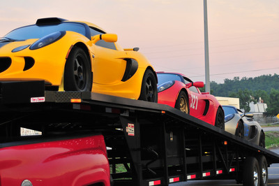 Truckload of Lotus Elises on  their way to Hallet motor speedway