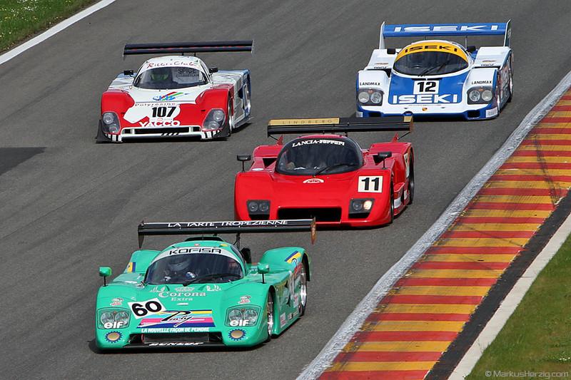 Group C Racing -  60 Cheetah, 11 Lancia LC2, 107 Spice SE88C, 12 Porsche 956 @ Spa Classic Belgium 27May12