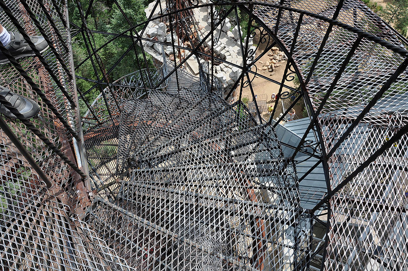 Just one of may iron circular staircases. They're see-through which is nice if someone is coming up when you're trying to go down (or vice versa), but they're a bit unnerving when you're trying to maintain your balance on the uneven footing.