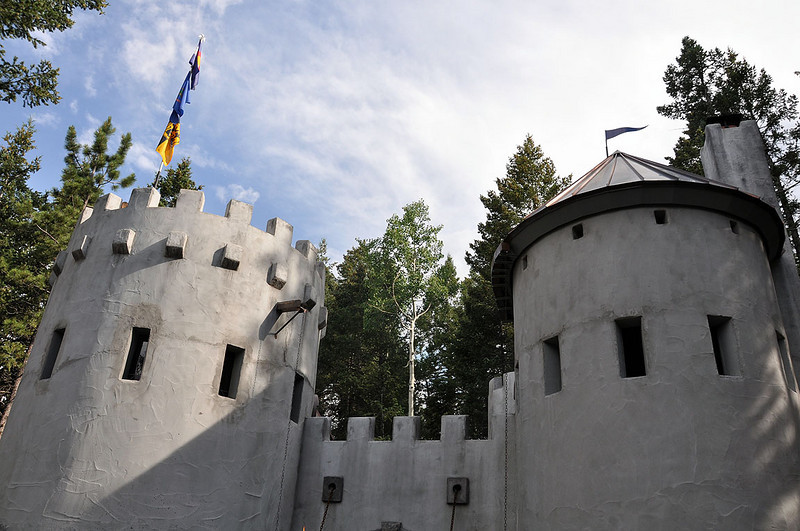 The fortified castle is situated high above Woodland Park.