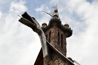 The Bishop Castle dragon sometimes breathes fire.
