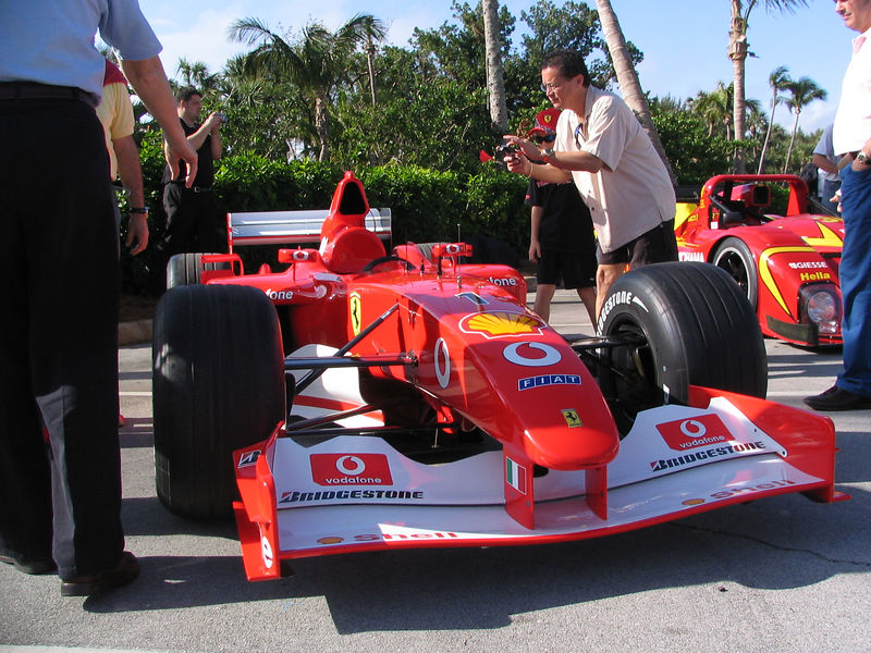 Ferrari F2002. It is marked with the #1 for Michael Schumacher but Rubens Barrichelo put his signature on it.