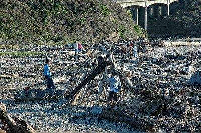 Kids playing with driftwood on San Gregorio beach