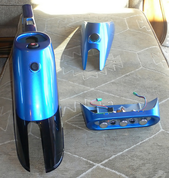 Freshly back from the paint shop, these are the pieces going back in today. They have been painted to match the blue exterior color of the car.