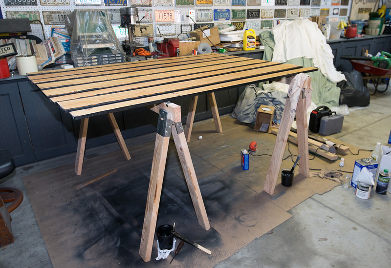 July 2014: Painting bed wood with 2-part epoxy.