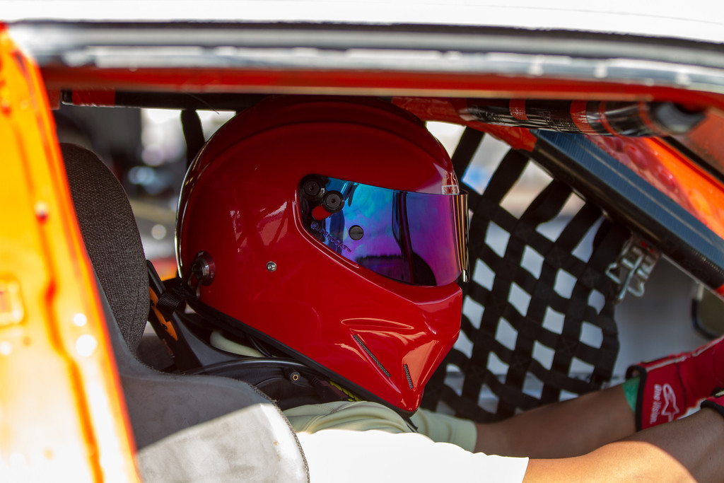 Kevin getting ready for practice in the race car