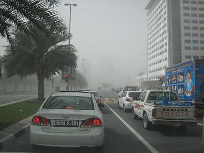 On the way to the Classic Car show and Dubai was having another sand storm.