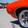 6/19/16 FITCHBURG with story-- A 1969 Pontiac GTO Judge owned by Charlie Aubuchon of Westminster sit's alongside other classic during Sundays classic car show at Monty Tech in Fitchburg. photo/Jeff Porter