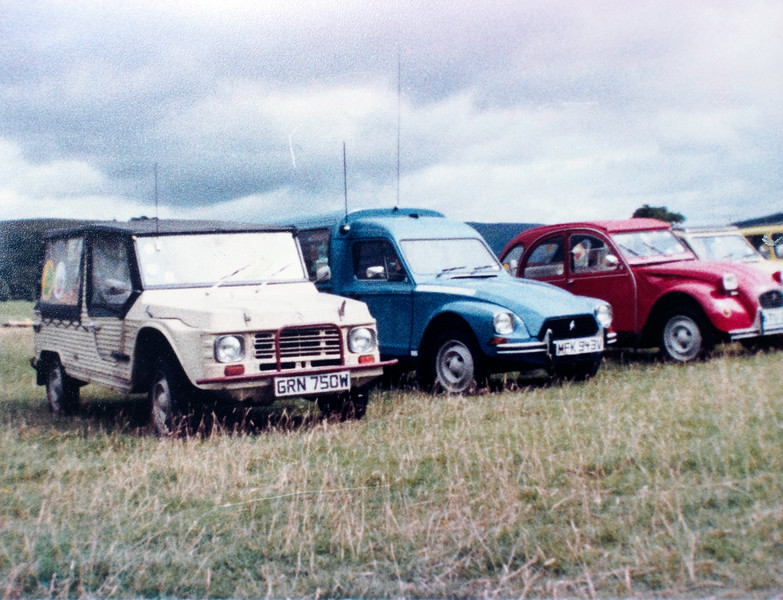 Citroëns at a 2CVGB meet, perhaps in Burnsall or Appletreewick