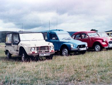 Citroëns at a 2CVGB meet, perhaps in Burnsall or Appletreewick