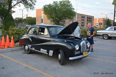 1954 Austin A-40 Somerset - Battery Electric Vehicle Car Conversion @ Winnipeg Classic Car Show @ Pony Corral parking lot on Grant Avenue  8-7-16