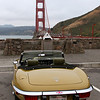 1974 Jaguar XKE V12 overlooking the Golden Gate Bridge on a brief break on the drive from Palo Alto to Sonomo