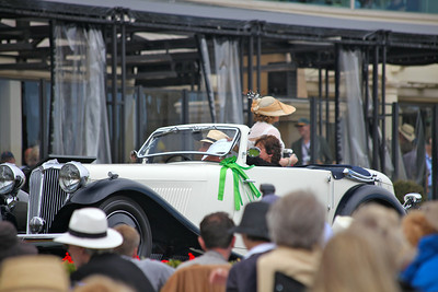 The 1935 S.S. 1 Drop Head Coupe shown by Albert & Maria Gayson Arizona on the ramp.  Entered in class N-1 Jaguar 75th Anniversary, Pebble Beach 2010 Concours d'Elegance