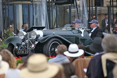 The 1935 Jaguar S.S. 90 Open Sports shown by Christian J Jenny, Thalwil, Switzerland on the ramp.  Entered in class N-1 Jaguar 75th Anniversary, Pebble Beach 2010 Concours d'Elegance