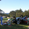"""2010 Hillsborough Concours d""""Elegance, Crystal Springs Gold Club Sept 12th 2010<br /> Dick France sets up for the day behind his XK120"""