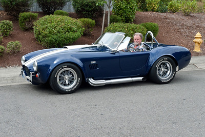 Getting lined up for loading. One last shot of me driving the Cobra, taken by my brother, who happened to be visiting.