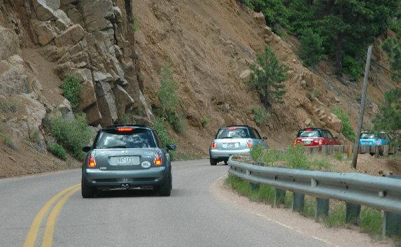 Narrow canyon driving.