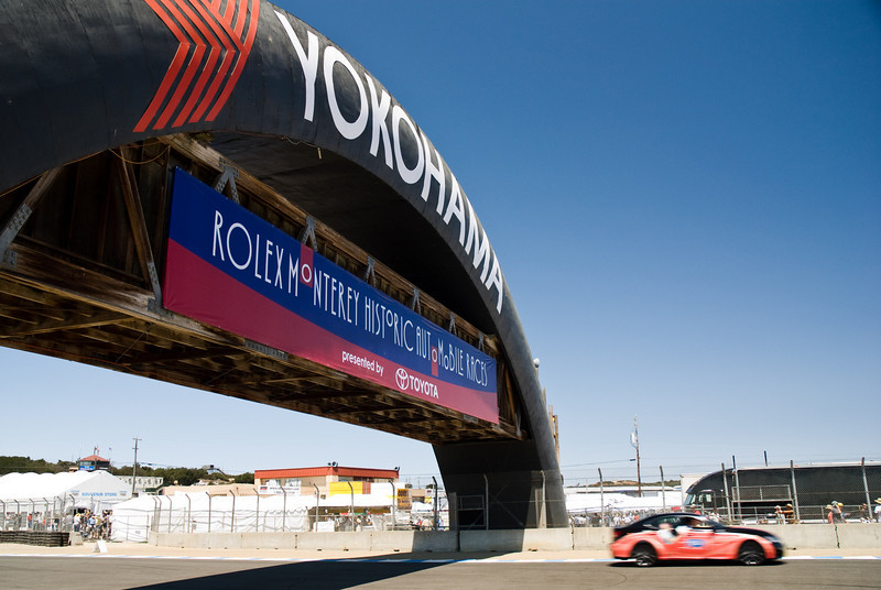 Oldtimer car race at Laguna Seca. Blue sky!